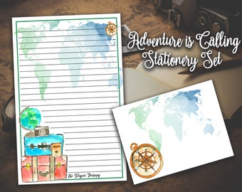 Travel stationery etsy travel stationery wanderlust stationery adventure awaits stationery explorer stationery letter writing paper journal paper world map gumiabroncs Images