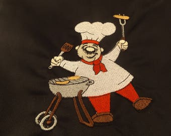 Apron Full size adult with pocket and a chef with a barbeque embroidered and appliqued