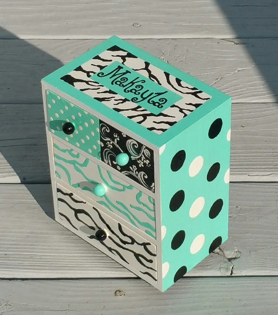 Teen Jewelry Box Amazing Gifts For Teen Girls Jewelry Box In Handmade Turquoise Zebra Etsy