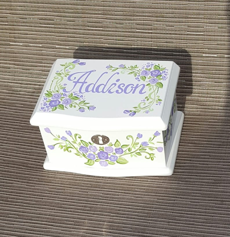 Hand painted roses Dancing ballerina Box White Jewelry Box For Girl Music Box  Baptism Gift First Communion Gift Godparent Gifts Toddler