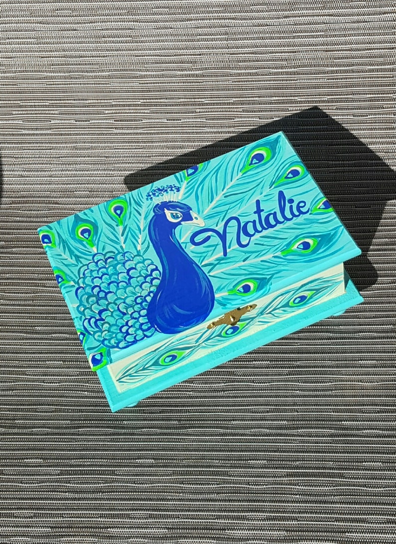 Peacock Turquoise and Teal Personalized Child/'s Jewelry Box Wood Box Girls Pink and Gray Nursery Decor