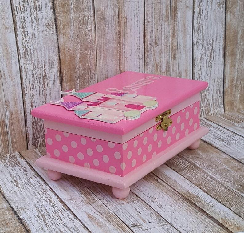 castle jewelry box personalized kids jewelry box pink wood box toddler girl polka dots birthday gift
