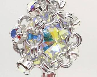Swarovski Crystal AB Rivoli Earrings / Swarovski earrings / Swarovski chainmail earrings / Swarovski bridesmaid gifts / wedding earrings