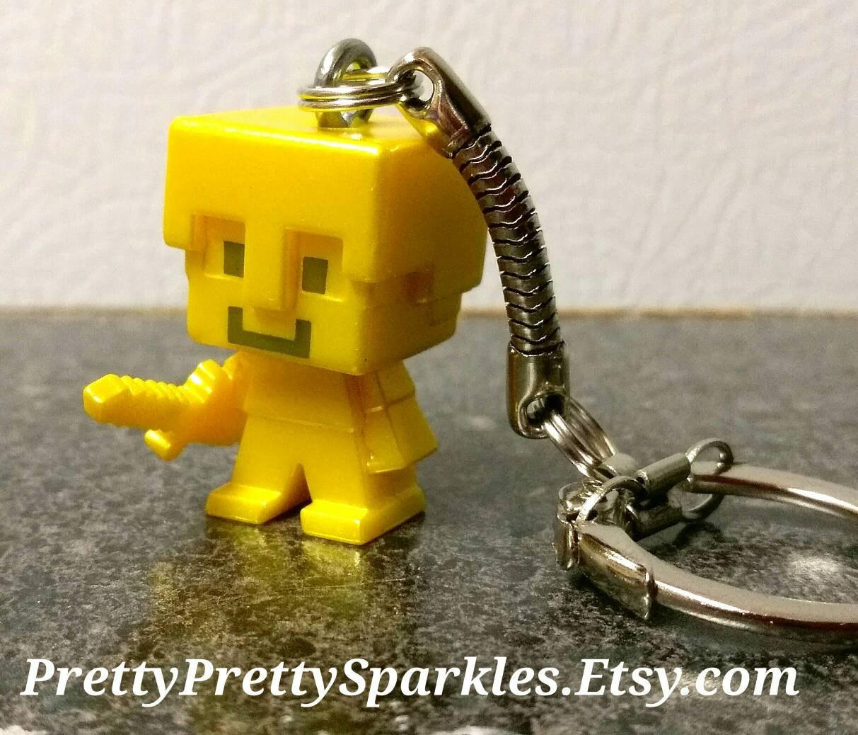 Minecraft Keychains Golden Armor Steve Keychain Minecraft Etsy