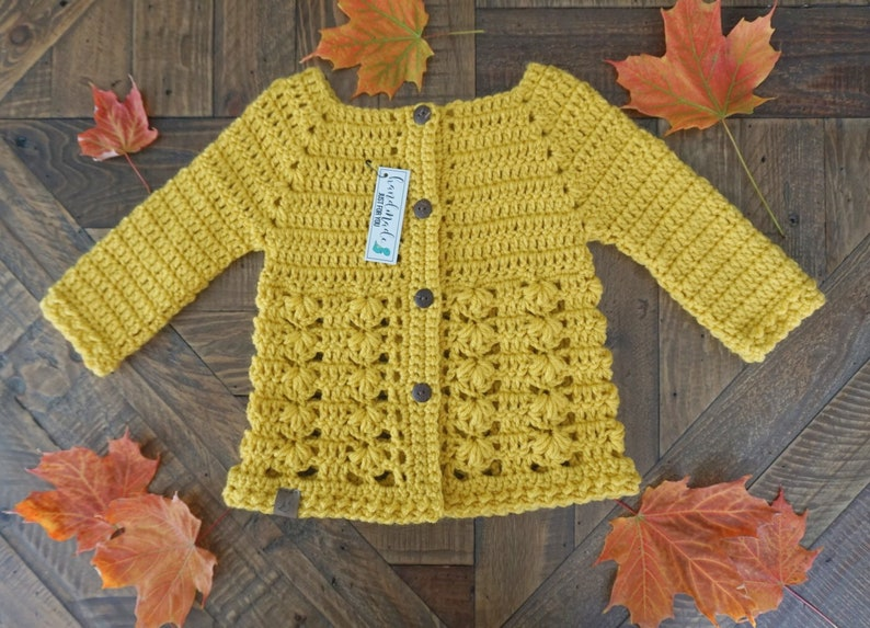 Mustard Buttoned Cardigan Handmade Sweater 6-12 Months Christmas Winter Sweater Crochet Sweater