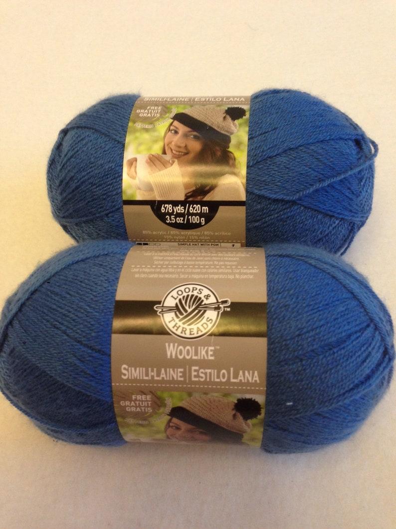 Loops and thread woolike yarn, finger weight yarn, blue yarn