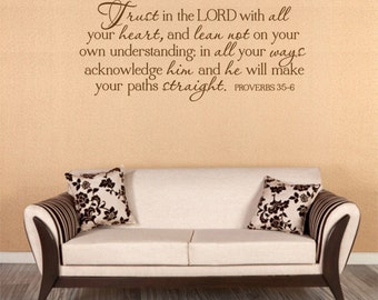 Christian Wall Decal. Trust In The Lord - CODE 169