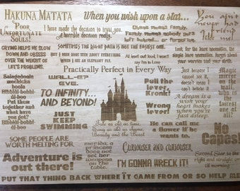 Disney Quotes InspiredWooden Etched Chopping Cutting Board