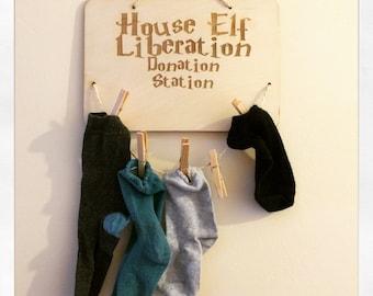 Harry Potter Inspired Dobby House Elf Liberation Donation Station Odd Sock Hanger Wooden Board