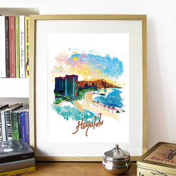 Honolulu Print, Honolulu Skyline, Honolulu Art, Honolulu Poster, Honolulu Watercolor, Honolulu Art Print, Honolulu Map, Honolulu Wall Art