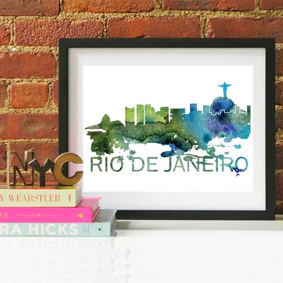 Rio de Janeiro Watercolor Skyline, Rio de Janeiro Skyline, Rio de Janeiro Art, Rio de Janeiro Poster, Rio de Janeiro Print, Rio de Janeiro