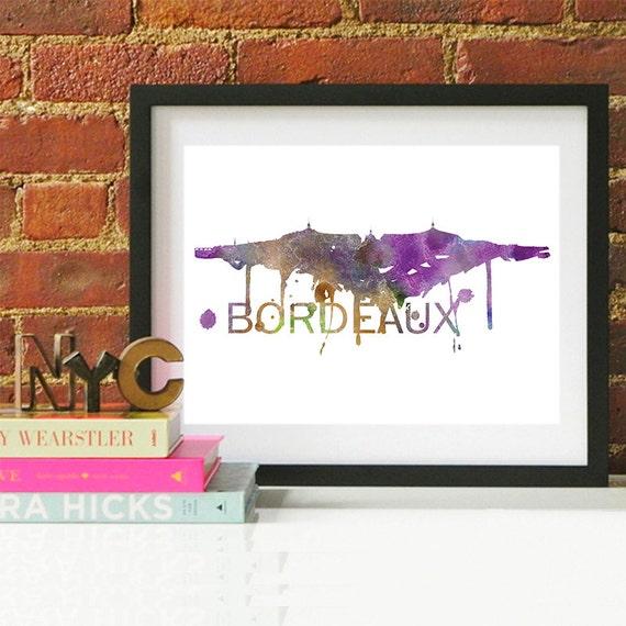 Bordeaux Watercolor Skyline, Bordeaux Skyline, Bordeaux Art, Bordeaux Poster, Bordeaux Print, Bordeaux Art, Bordeaux Map, Bordeaux Wall Art