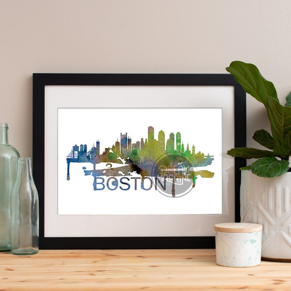 Boston Watercolor Skyline, Boston Skyline, Boston Art, Boston Poster, Boston Print, Boston Art, Boston Map, Boston Wall Art, Massachusetts