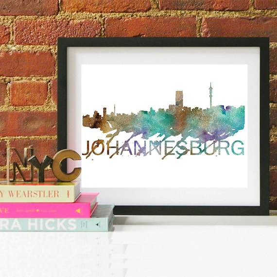 Johannesburg Watercolor Skyline, Johannesburg Skyline, Johannesburg Art, Johannesburg Poster, Johannesburg Print, Johannesburg Art, Africa