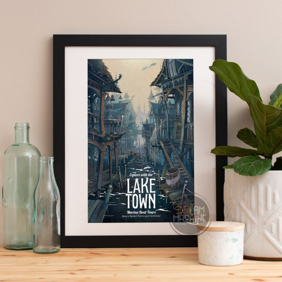 Lord of the Rings Poster Laketown Marina Boat Tours, Lord of the Rings Art, The Hobbit, LOTR, Lake Town Art, Lord of the Rings Print