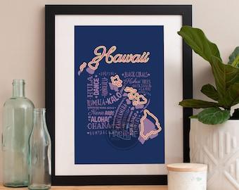 Hawaii State Print Hawaii Art Hawaii Poster Hawaii Print