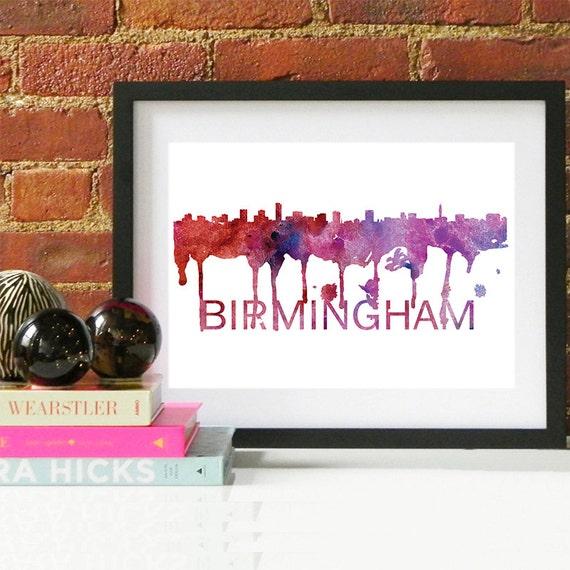Birmingham Watercolor Skyline, Birmingham Skyline, Birmingham Art, Birmingham Poster, Birmingham Print, Birmingham Art, Birmingham Map