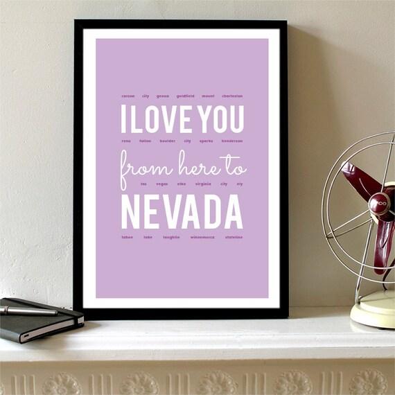 I love you from here to Nevada, Nevada Print, Nevada Skyline, Nevada Art, Nevada Poster, Nevada Watercolor, Nevada Art Print