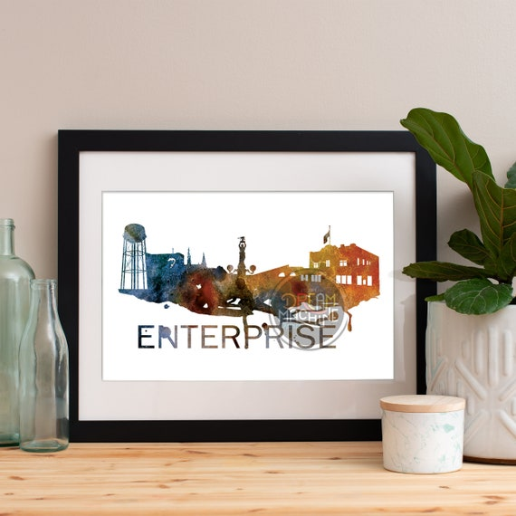 Enterprise Watercolor Skyline Orange, Enterprise Skyline, Enterprise Art, Enterprise Poster, Enterprise Print, Enterprise Art, Enterprise