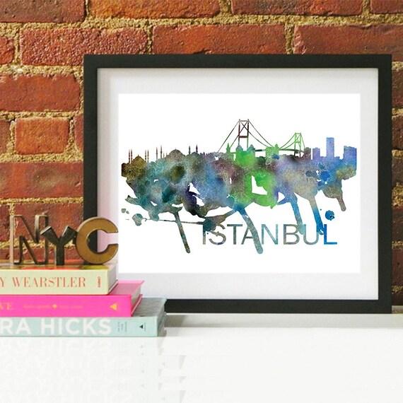 Istanbul Watercolor Skyline, Istanbul Skyline, Istanbul Art, Istanbul Poster, Istanbul Print, Istanbul Art, Istanbul Map, Istanbul Wall Art