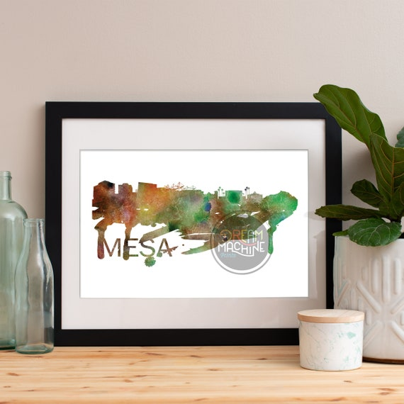 Mesa Watercolor Skyline, Mesa Skyline, Mesa Art, Mesa Poster, Mesa Print, Mesa Art, Mesa Map, Mesa Wall Art, Arizona Art