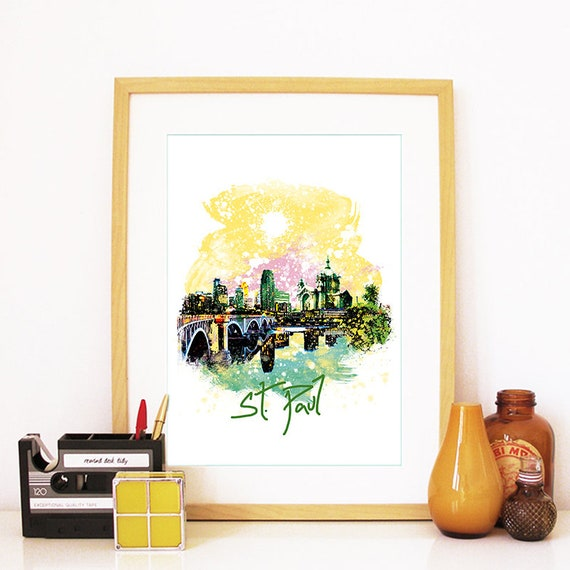 Saint Paul Print, Saint Paul Skyline, St. Paul Art, Saint Paul Poster, Saint Paul Watercolor, Saint Paul Art Print, Saint Paul Map