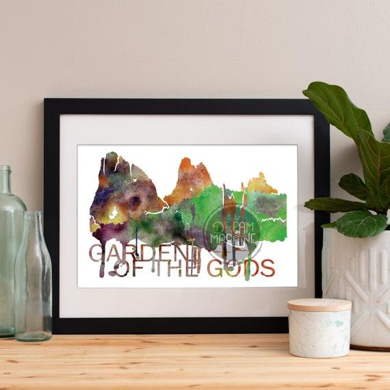 Garden of the Gods Watercolor Skyline, Garden of the Gods Skyline, Garden of the Gods Art, Garden of the Gods Poster, Garden of the Gods