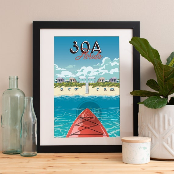 30A Print, 30A Skyline, 30A Art, 30A Poster, 30A Watercolor, 30A Art Print, 30A Map, 30A Wall Art, Seaside Florida, Rosemary, Watercolor