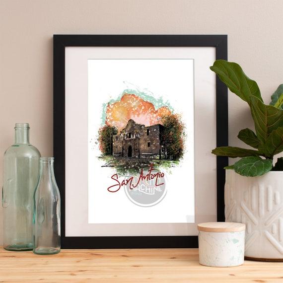 San Antonio Print, San Antonio Skyline, San Antonio Art, San Antonio Poster, San Antonio Watercolor, San Antonio Art Print, San Antonio Map