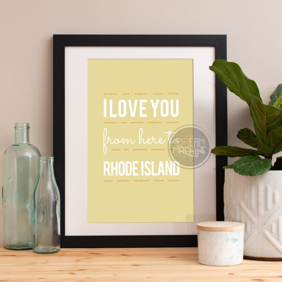 I love you from here to Rhode Island, Rhode Island Print, Rhode Island Skyline, Rhode Island Art, Rhode Island Poster, Rhode Island Gift