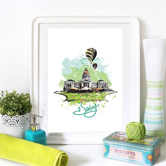 Boise Print, Boise Skyline, Boise Art, Boise Poster, Boise Watercolor, Boise Art Print, Boise Map, Boise Wall Art, Boise Idaho Art, Idaho