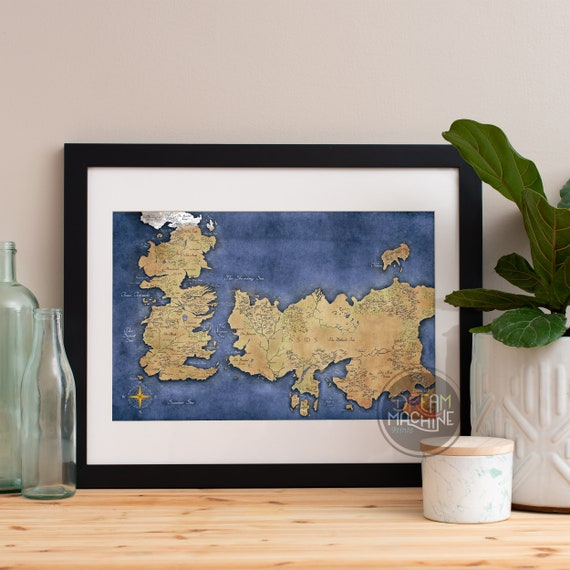 Game of Thrones Map of Westeros and Essos, Game of Thrones Map, Game of Thrones Gift, Game of Thrones Art, House Stark Art