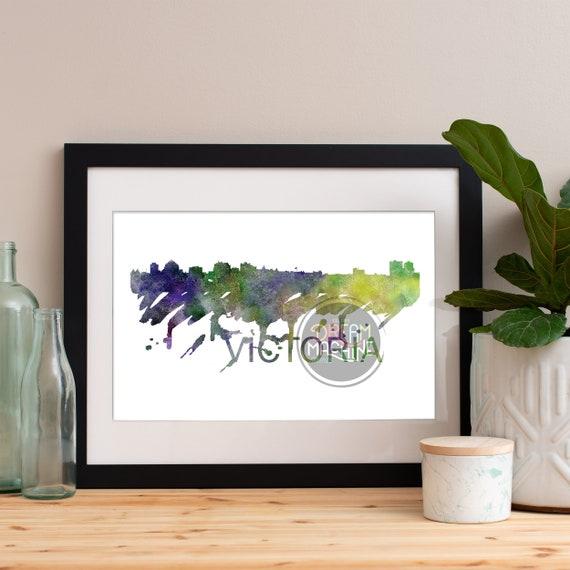Victoria Watercolor Skyline, Victoria Skyline, Victoria Art, Victoria Poster, Victoria Print, Victoria Art, Victoria Map, Victoria, BC Art