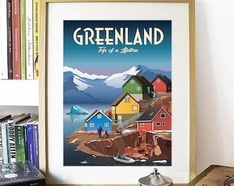 Greenland Print, Greenland Skyline, Greenland Art, Greenland Poster, Greenland Watercolor, Greenland Art Print, Greenland Map, Greenland