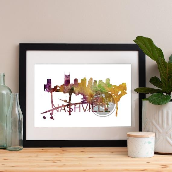 Nashville Watercolor Skyline, Nashville Skyline, Nashville Art, Nashville Poster, Nashville Print, Nashville Art, Nashville Map, Nashville