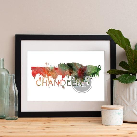 Chandler Watercolor Skyline, Chandler Skyline, Chandler Art, Chandler Poster, Chandler Print, Chandler Art, Chandler Map, Chandler Wall Art