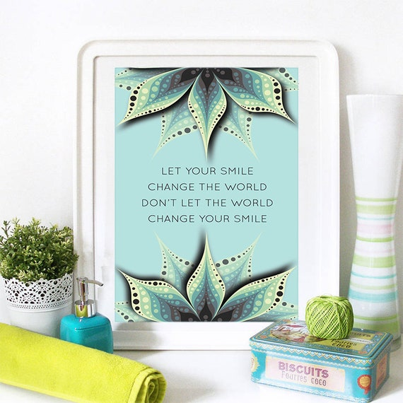 Motivational Poster Let Your Smile Change The World Colorful Poster Art Print colorful Motivational Poster Whimsical Poster