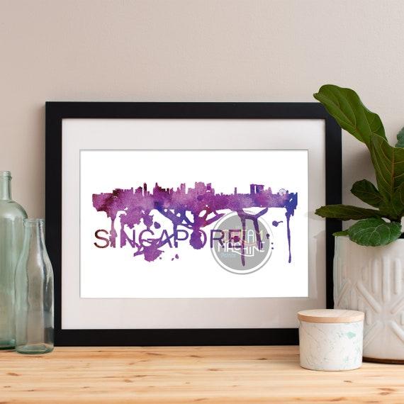 Singapore Watercolor Skyline, Singapore Skyline, Singapore Art, Singapore Poster, Singapore Print, Singapore Art, Singapore Map, Singapore