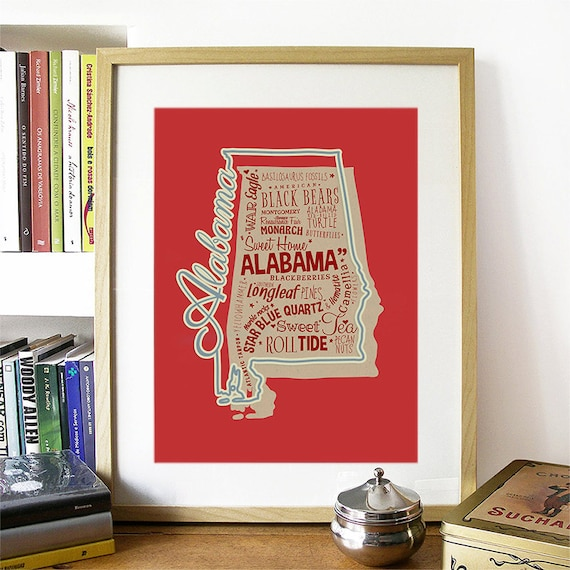 Alabama Art Print, Alabama Wall Art, Alabama Poster, Alabama Art, Alabama Map, Alabama, Alabama Map, University of Alabama, Roll Tide Roll