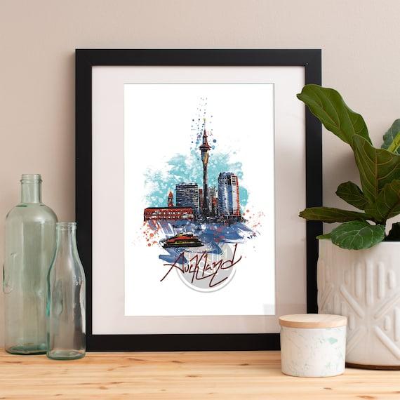 Auckland Print, Auckland Skyline, Auckland Art, Auckland Poster, Auckland Watercolor, Auckland Art Print, Auckland Map, Auckland Wall Art