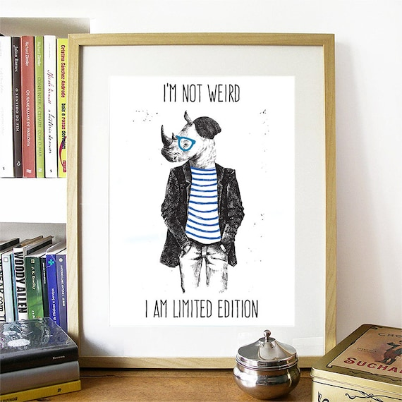 Motivational Poster Hipster Rhino Colorful Poster Art Print colorful Motivational Poster Whimsical Poster