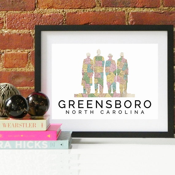 Greensboro Print, Greensboro Skyline, Greensboro Art, Greensboro Poster, Greensboro Watercolor, Greensboro Art Print, Greensboro Map