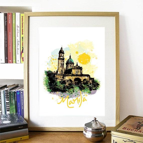 Manila Print, Manila Skyline, Manila Art, Manila Poster, Manila Watercolor, Manila Art Print, Manila Map, Manila Wall Art