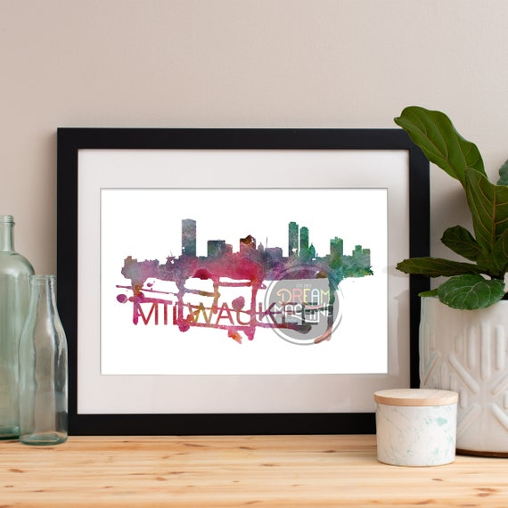 Milwaukee Watercolor Skyline, Milwaukee Skyline, Milwaukee Art, Milwaukee Poster, Milwaukee Print, Milwaukee Art, Milwaukee Map, Milwaukee