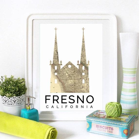 Fresno Print, Fresno Skyline, Fresno Art, Fresno Poster, Fresno Watercolor, Fresno Art Print, Fresno Map, Fresno Wall Art, Fresno California