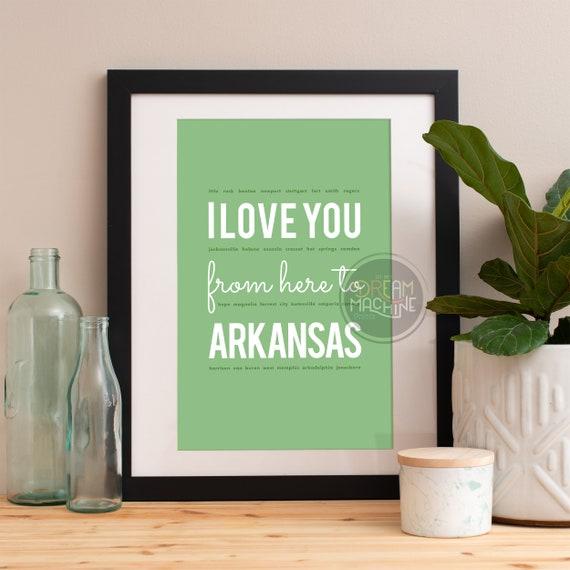 I love you from here to Arkansas, Arkansas Print, Arkansas Skyline, Arkansas Art, Arkansas Poster, Arkansas Watercolor, Arkansas Art Print
