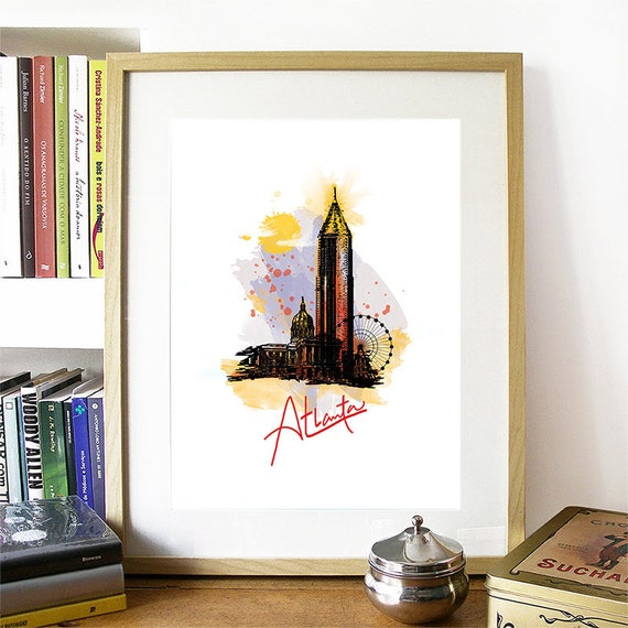 Atlanta Print, Atlanta Skyline, Atlanta Art, Atlanta Poster, Atlanta Watercolor, Atlanta Art, Atlanta Map, Atlanta Wall Art, Georgia Art