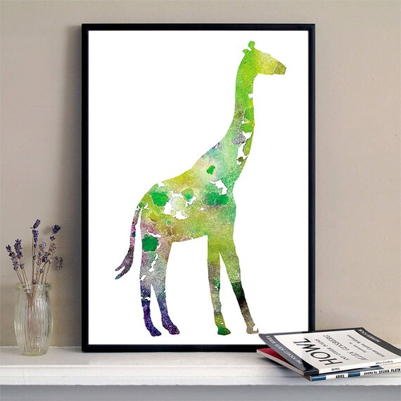 Giraffe Print Green and Yellow Watercolor