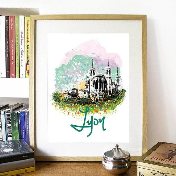 Lyon Print, Lyon Skyline, Lyon Art, Lyon Poster, Lyon Watercolor, Lyon Art Print, Lyon Map, Lyon Wall Art, Lyon France Art, France Wall Art