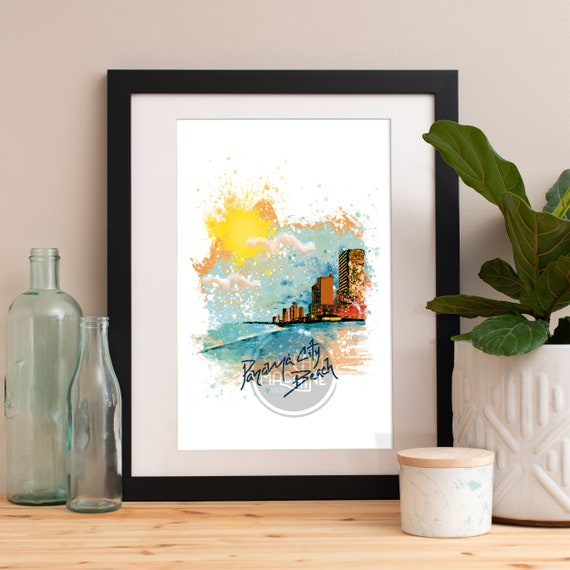 Panama City Beach Print, Panama City Beach Skyline, Panama City Beach Art, Panama City Beach Poster, Panama City Beach Watercolor, PCB